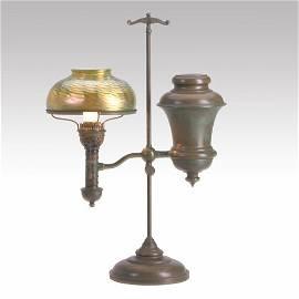 915: TIFFANY STUDIOS, Etc. Favrile glass Damascene lamp