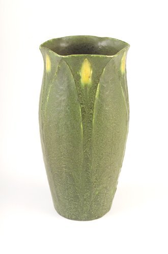 10: GRUEBY Vase by Wilhemina Post with tooled and appli