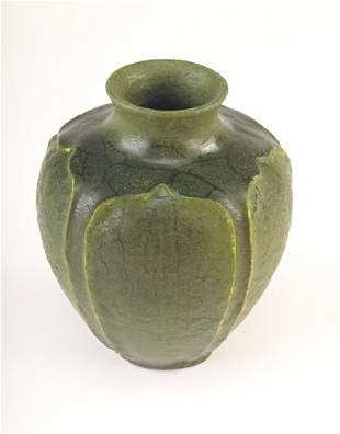 GRUEBY Exceptional squat bulbous vase with a flared