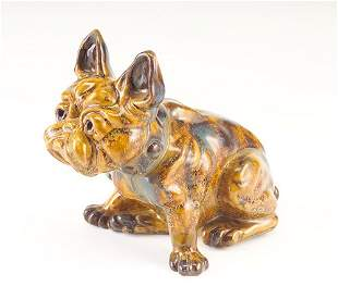 FULPER Bulldog figurine doorstop covered in amber,