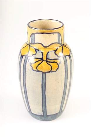 NEWCOMB COLLEGE Early bulbous vase painted by Sara