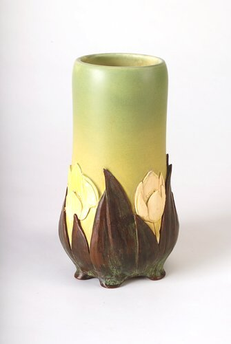 23A: ROOKWOOD Exceptional Carved Matt vase with bronze