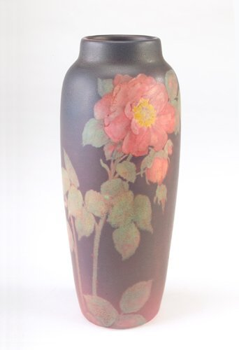 25: ROOKWOOD Painted Matt vase by O.G. Reed with pink r
