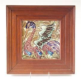 "387: WILLIAM DE MORGAN Fine and rare 8"" tile painted wi"