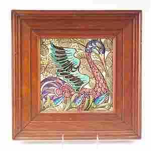 "388: WILLIAM DE MORGAN Fine and rare 8"" tile painted wi"