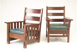 J.M. YOUNG Two armchairs, each with four under-arm