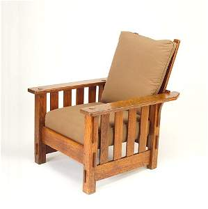497: J.M. YOUNG Morris chair with slats to the floor un