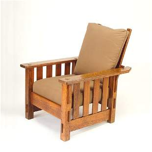 J.M. YOUNG Morris chair with slats to the floor un