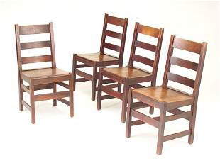 L. & J.G. STICKLEY Four ladder-back side chairs wi
