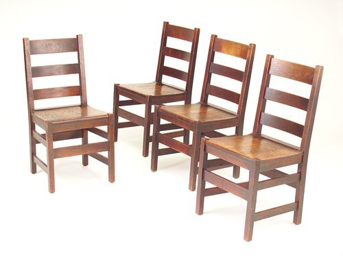 502: L. & J.G. STICKLEY Four ladder-back side chairs wi