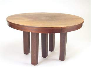L. & J.G. STICKLEY Five-leg dining table with circ