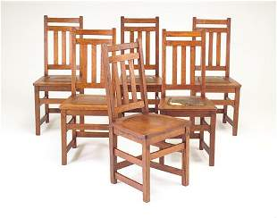 LIMBERT Assembled set of six side chairs, all havi