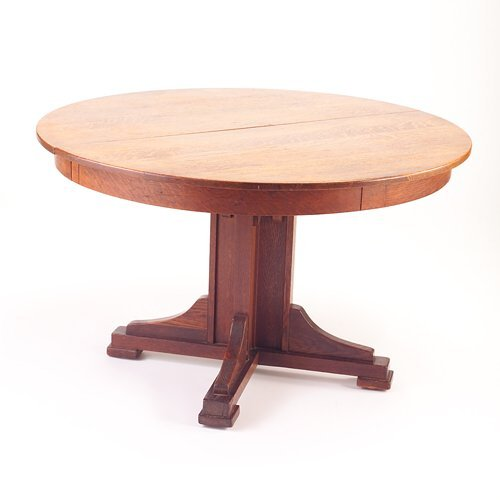 505: LIMBERT Pedestal dining table with four shoe feet