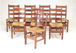 GUSTAV STICKLEY Set of eight ladder-back side chai