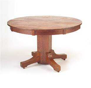 STICKLEY BROTHERS Pedestal dining table with circu