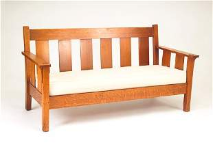 STICKLEY BROTHES Drop-arm settle with corbels and