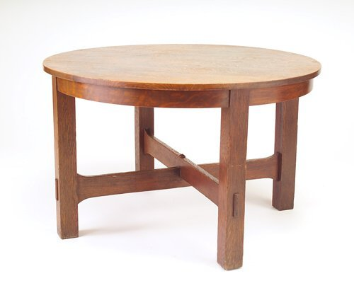 513: ARTS & CRAFTS Library table with circular top, tru