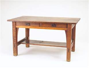 GUSTAV STICKLEY Two-drawer library table (no. 616)