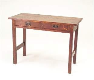 L & J.G. STICKLEY Two-drawer console table. Origin