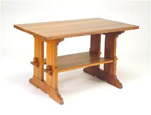 L. & J.G. STICKLEY Trestle table. Refinished, good