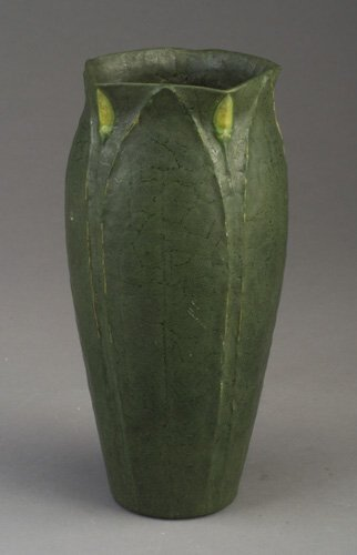 17: Fine and tall GRUEBY vase by Wilhemina Po