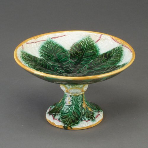 504: GEORGE JONES majolica cake stand, c. 187