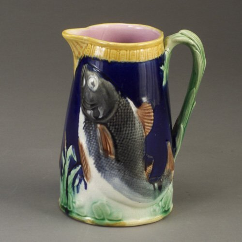 512: English majolica fish jug, c. 1870. Smal