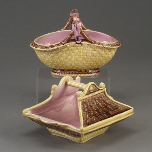 515: Two English majolica flower baskets, c.