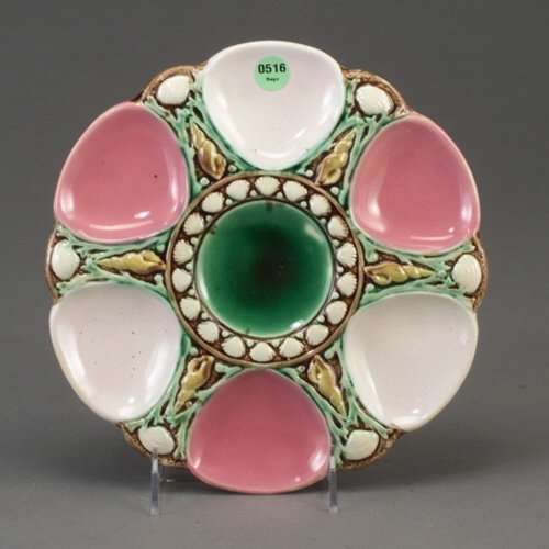 516: English majolica oyster plate in Minton