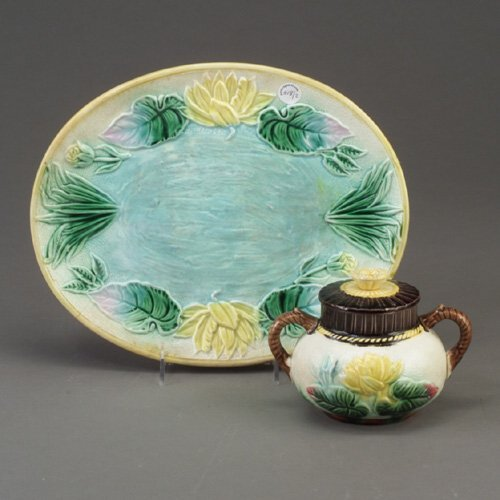 518: Two SAMUEL LEAR type majolica items, c.