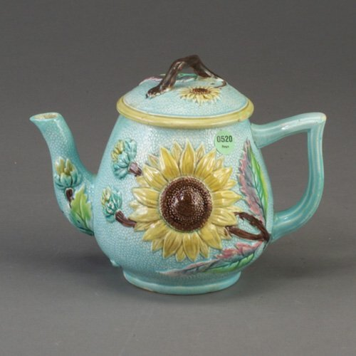 520: English majolica teapot and cover, dated