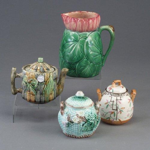 539: Four various Victorian majolica pieces,