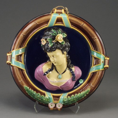 553: W.S&S majolica portrait wall plaque, c.