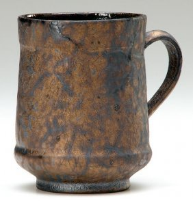 GEORGE OHR Mug Covered In Leathery Copper & Gunmetal