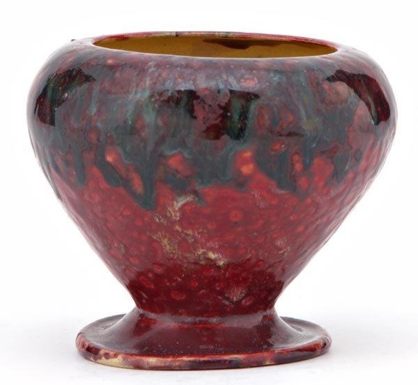 7: GEORGE OHR Salt dish covered in mottled raspberry
