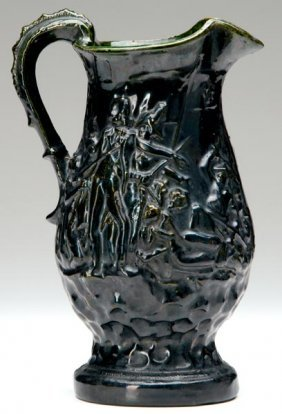 11: GEORGE OHR Large pitcher embossed with battle scene