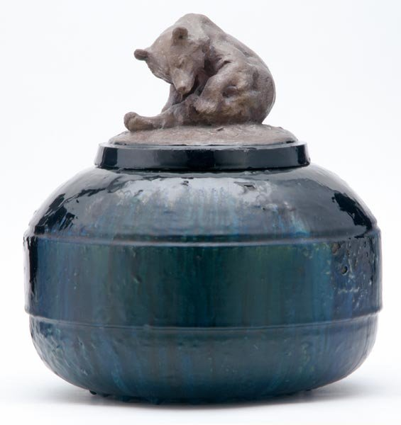 14: FREDERICK ROTH Stoneware vessel with bear