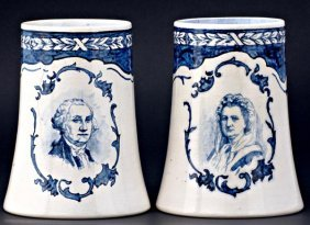 22: VOLKMAR & CORY Pair of mugs in Delft style
