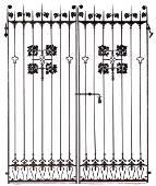 144: SAMUEL YELLIN Pair of wrought-iron gates with vine