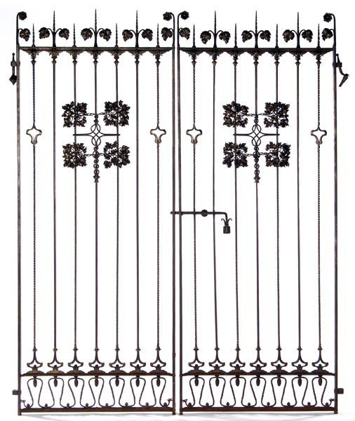 144: SAMUEL YELLIN Pair of wrought-iron gates with vine