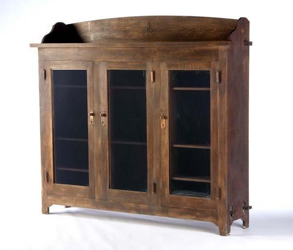 500: ROYCROFT Rare triple-door bookcase with three adju
