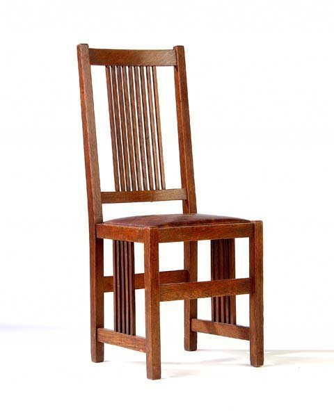 505: GUSTAV STICKLEY Spindled side chair (no. 384) with