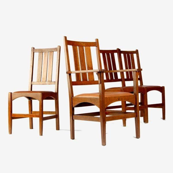 507: GUSTAV STICKLEY Four dining chairs, three side- (n