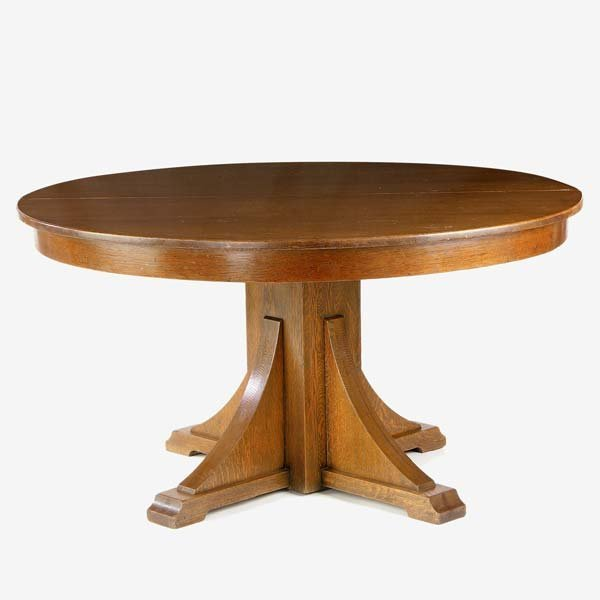 508: STICKLEY BROTHERS Dining table with pedestal and c