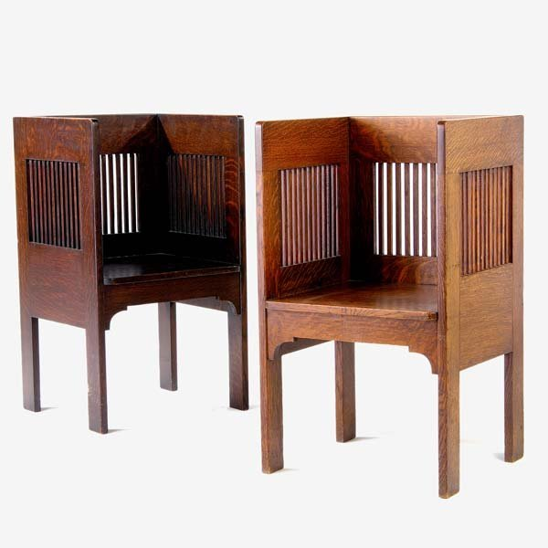 518: MICHIGAN CHAIR CO. Pair of spindled cube chairs wi