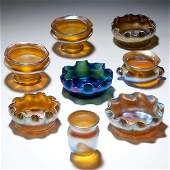 838 TIFFANY STUDIOS Seven Favrile glass salts six gol