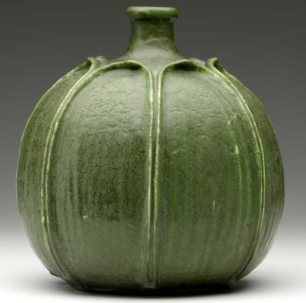 1: GRUEBY Gourd-shaped vase with tooled and applied ful