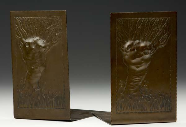 3: ROYCROFT Copper bookends embossed with large trees i