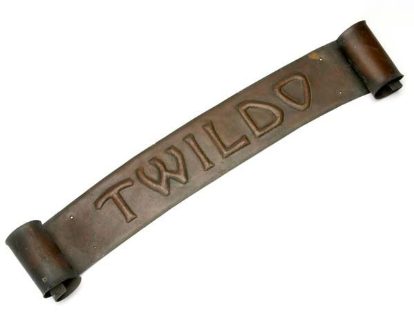 "4: ROYCROFT Hammered copper wall-hanging sign, ""TWILDO"""