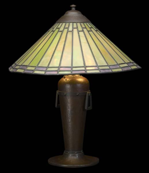9: ROYCROFT Large hammered copper table lamp designed b